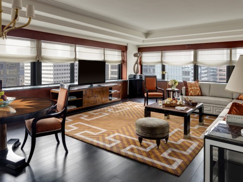 Corner Suite Living Room at The Towers at Lotte New York Palace