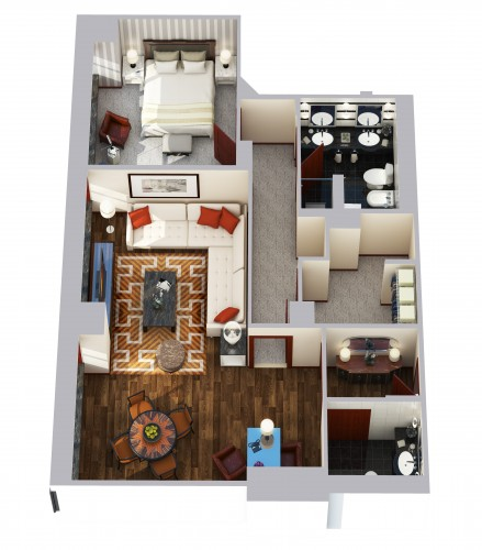 Towers One Bedroom Suite Floor Plan
